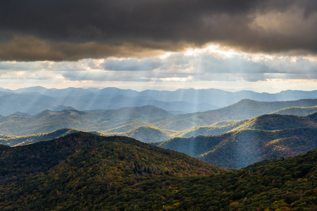 Appalachian Mountain landscape in Western North Carolina Blue Ridge Parkway autumn outdoor scenic photography Stock Photo