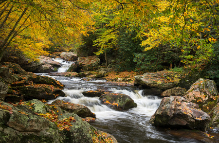 North Carolina Autumn Cullasaja River Scenic Landscape near Highlands NC in western North Carolina outdoors during the fall foliage