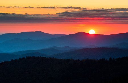 Clingmans Dome Great Smoky Mountains National Park Scenic Sunset Landscape photography between Cherokee NC and Gatlinburg TN