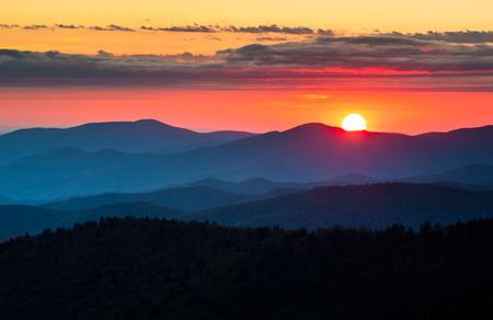 great smoky mountains national park: Clingmans Dome Great Smoky Mountains National Park Scenic Sunset Landscape photography between Cherokee NC and Gatlinburg TN
