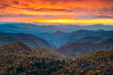 ノースカロライナ ブルーリッジ パークウェイ山サンセット景観アシュビル、ノースカロライナ州の秋の間に近く落ちる葉