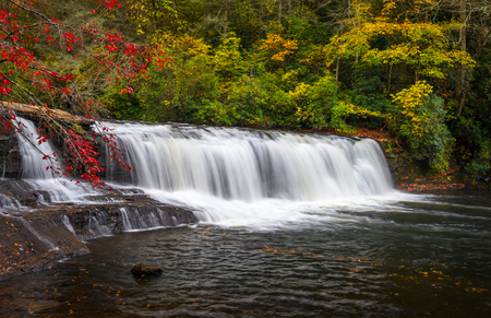 dupont: Autumn Waterfall Landscape North Carolina Blue Ridge Mountains at Dupont State Forest natural outdoor recreation area