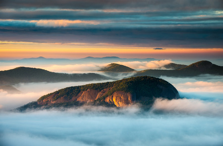asheville: Blue Ridge Parkway North Carolina Looking Glass Rock Sunrise and morning fog south of Asheville NC