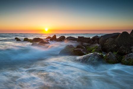 St. Augustine Florida Ocean Beach Sunrise With Crashing Waves taken near Vilano Beach FL