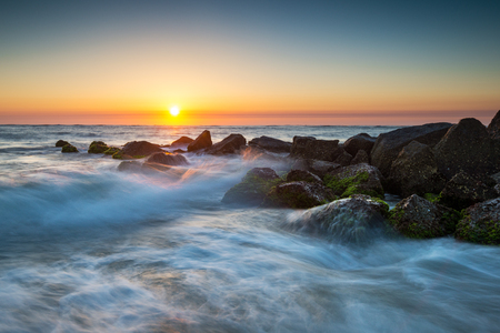 fl: St. Augustine Florida Ocean Beach Sunrise With Crashing Waves taken near Vilano Beach FL