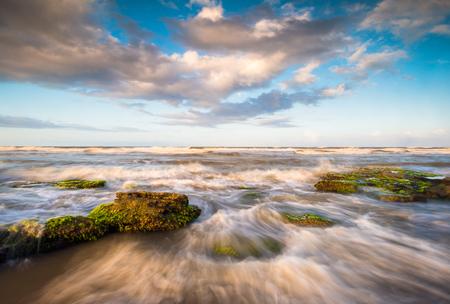 St. Augustine Florida Scenic Beach Ocean Landscape with crashing waves near Palm Coast state park beaches