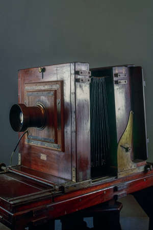 o2-Jun-2008-vintage photo of  Wooden Studio Camera kolkata west bengal India asia