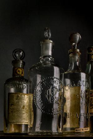 12-sep-2004 vintage european  Eau de Cologne.bottles-Kalyan Maharashtra INDIA Stock Photo - 117481157