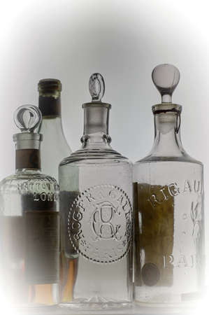 12-sep-2004 vintage european  Eau de Cologne.bottles in white background-Kalyan Maharashtra INDIA Editorial