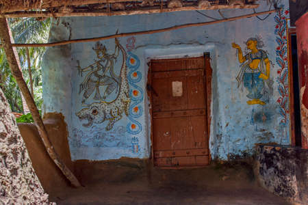 5-Jul-2007-traditional wall painting outside ruler house Raghurajpur-Orissa INDIA