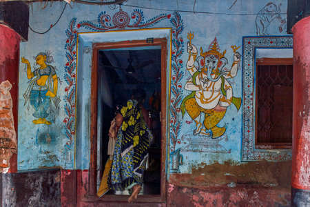 5-Jul-2007-Ganesh in traditional wall painting outside ruler house Raghurajpur-Orissa INDIA