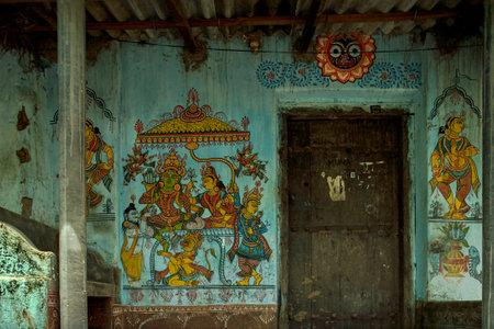 5-Jul-2007-Ram Sita & Hanuman in traditional wall painting outside ruler house Raghurajpur-Orissa INDIA