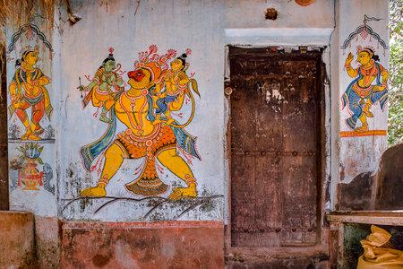 5-Jul-2007-Ram Laxman & Hanumman in traditional wall painting outside ruler house Raghurajpur-Orissa INDIA
