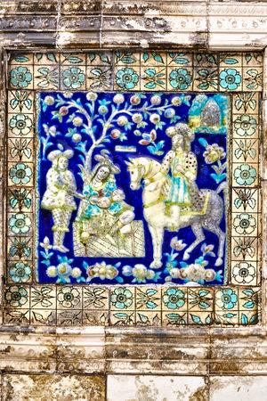 14 Aug 2007 Decorative siramc painted tiles Parshwanath Jain Temple Calcutta kolkatta west bengal India