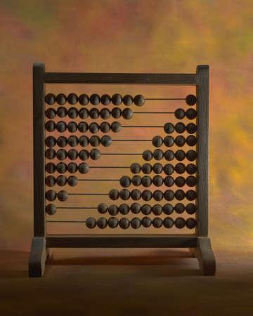 05 May 2008 Wooden Abacus With wooden Beads Isolated on Dark Background. Navi Mumbai Maharashtra India