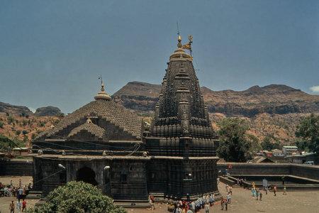 31 Mar 2020 jyotirling Trimbakeshwar Shiva Temple in foothill of westarn Ghat Near Nasik Maharashtra INDIA