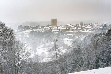 Snow falling on Richmond North Yorkshire, including Richmond Castle