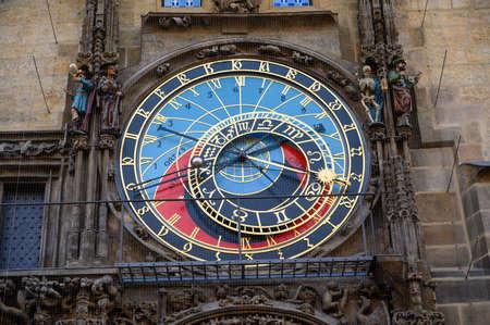PRAGUE - JULY 20, 2019: The Astronomical Dial of The Prague Astronomical Clock, Prague, Czech Republic