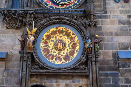 PRAGUE - JULY 20, 2019: The Calendar Plate of The Prague Astronomical Clock, Prague, Czech Republic
