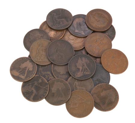 pennies: pile of old coins, victorian, edwardian, georgian pennies Stock Photo