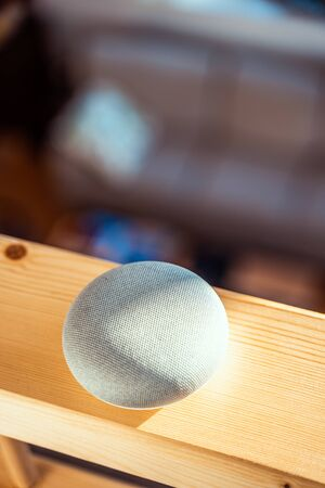 voice controlled smart speaker in a interior home environment. Smart AI speaker concept Stok Fotoğraf