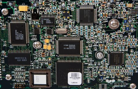 chipset: A close-up of an integrated circuit board