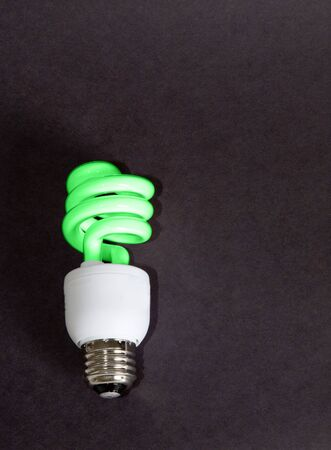 florescent light: A compact florescent light bulb colored green to represent being green for our planet