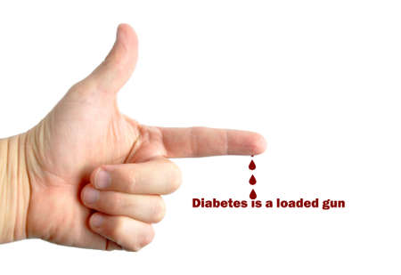 Hand making gun gesture with diabetes message isolated on white