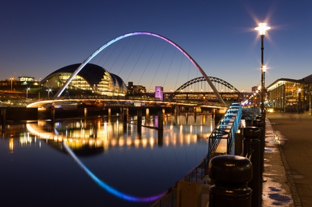 millennium bridge: Newcastle quayside at night Editorial