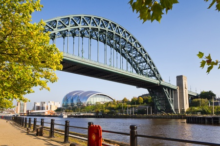 Tyne bridge framed with leaves Stockfoto