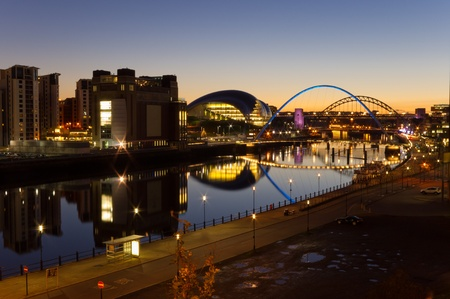 River Tyne at night  Elevated view of Newcastle and Gatehead quays just as the sun has set