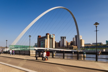 Gateshead Millennium Bridge arch / The Millennium bridge with the Baltic art centre through the arch photo