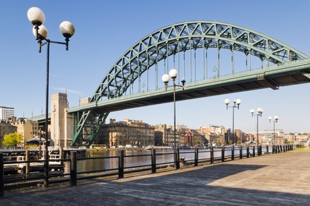 Tyne bridge with lamp posts / View of Tyne bridge with lamp posts from the south bank