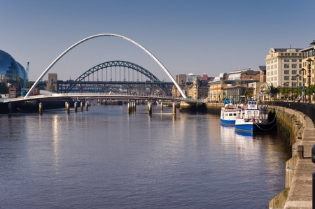 River Tyne  River tyne showing its bridges and leisure boats Stock Photo