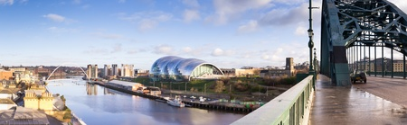 steel bridge: Newcastle Quay panorama of the river Tyne and its iconic bridges from the Tyne bridge Stock Photo