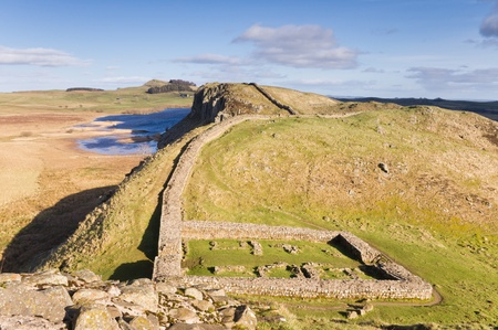 Hadrians Wall milecastle 39 at Steel Rigg with Crag Lough behind