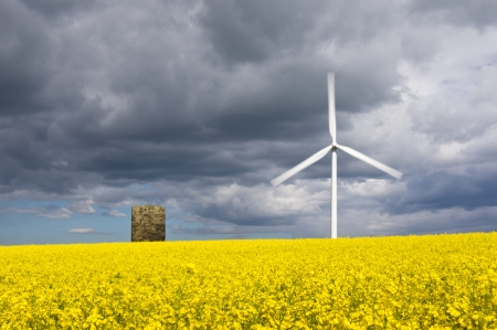 Windmill with motion blur and rapeseed field giving duel green energy photo