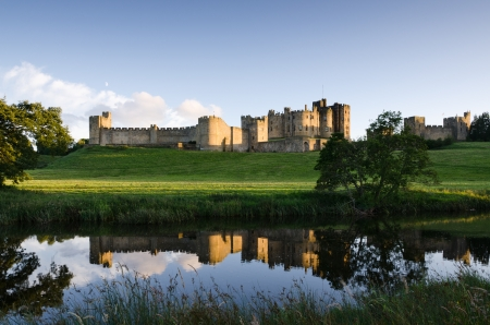 Alnwick Castle reflections  is an historic 700 year old medieval castle photo
