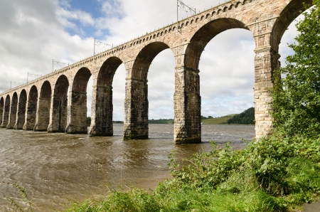 Berwick viaduct from below supporting the main east coast trains photo