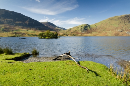 Crummock Water island in the English Lake District National Park Stock Photo - 16313144