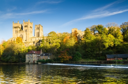 Durham Cathedral above the River Wear which originates from the 11th century and is renowned as a masterpiece of Norman architecture