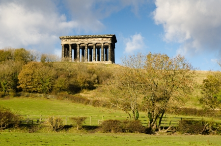 Penshaw Monument is a smaller copy of the Temple of Hephaestus in Athens which was erected in 1844 and stands 20 metres tall