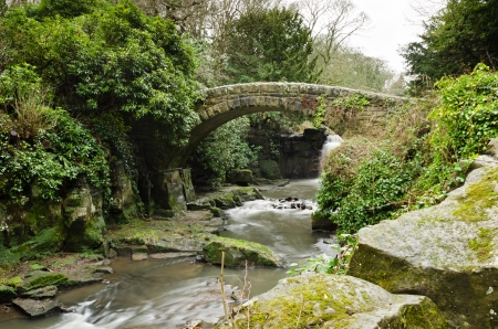 Jesmond Dene stone bridge is in a deep post-glacial valley providing a quiet haven just one mile from Newcastle Upon Tyne city centre photo
