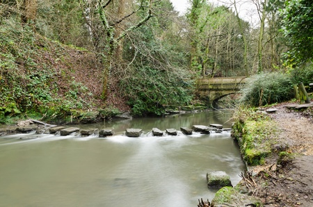 Jesmond Dene stepping stones are in a deep post-glacial valley providing a quiet haven just one mile from Newcastle Upon Tyne city centre photo