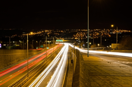 Traffic light trails looking south on the Newcastle western bypass Stock Photo - 17661058