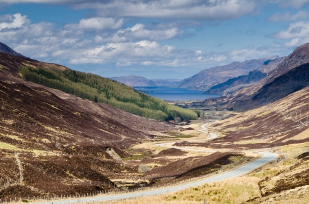 Loch Maree viewed from high up Glen Docherty with the road to Kinlochewe