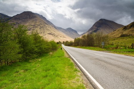 The road into Glen Coe that travels through the dramatic landscape