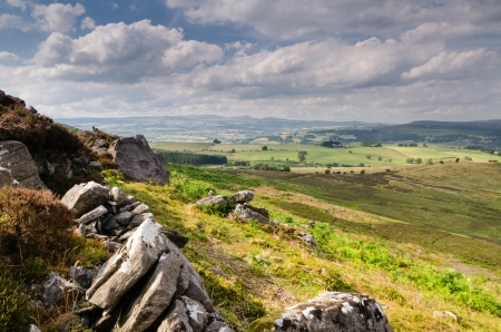 Simonside Hills crags near Rothbury in Northumberland are popular with walkers being rich in ancient heritage and mystery