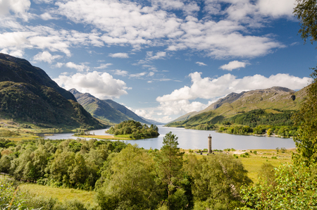 the jacobite: Loch Shiel and Glenfinnan monument at the head of loch marks the final Jacobite rising
