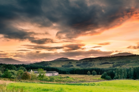 Sunset in the Scottish Highlands just north of Fort William photo